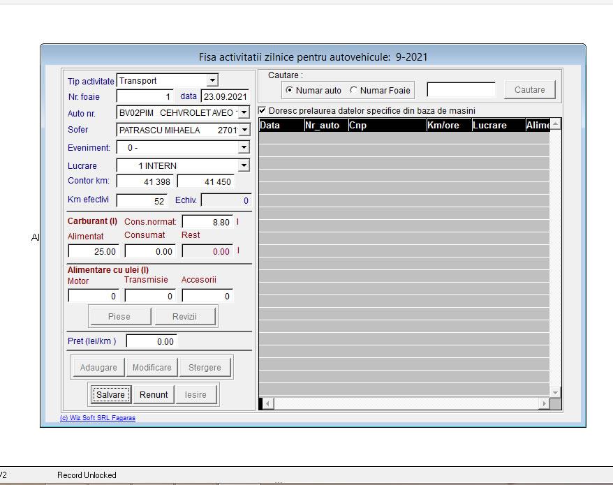 WizAplic2 - captura ecran actualizare date FAZ