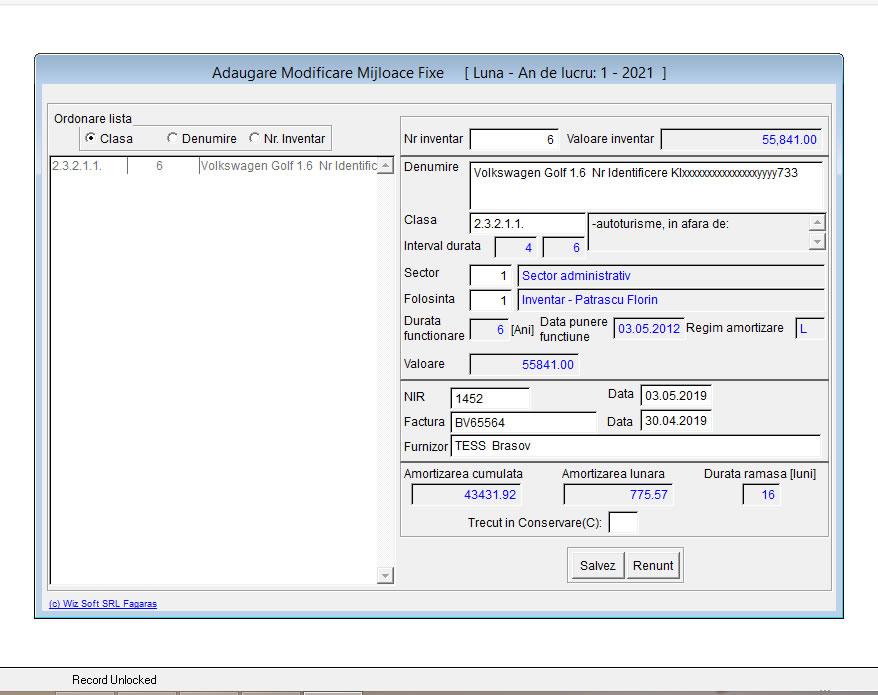 WizmFixe © - Program de evidenta si calcul amortizare Mijloace Fixe